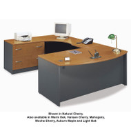 Bush Business Furniture Series C Package Executive U-Shaped Bowfront Desk Natural Cherry - NCPackageG