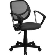 Flash Furniture Mid-Back Gray Mesh Task Chair and Computer Chair with Arms - WA-3074-GY-A-GG