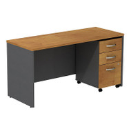 "Bush Business Furniture Series C Package Desk with Mobile File Cabinet in Natural Cherry 72""W x 24""D - SRC026NCSU"