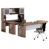 "Mayline Medina Laminate Executive 72"" Desk U-Shaped Package Right Textured Brown Sugar Finish - MNT31TBS"