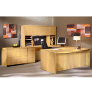 "Mayline Aberdeen Executive U-Shaped Desk 66"" w/Wood Door Hutch Package Maple - AT41-LMA"