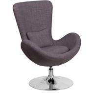 Flash Furniture Egg Series Reception Lounge Side Chair Dark Gray Fabric - CH-162430-DKGY-FAB-GG