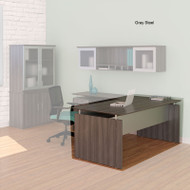 "Mayline Medina Laminate Executive Desk Straight 63"" Gray Steel - MNDS63-LGS"