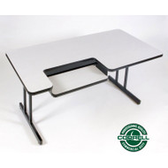Correll High-Pressure Bi-level Computer Desk or Training Table with One Keyboard Tray 30 x 48 - BL3048