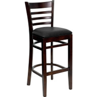 Flash Furniture Wood Ladder Back Barstool with Walnut Finish and and Black Vinyl Seat -XU-DGW0005BARLAD-WAL-BLKV-GG