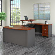 "Bush Business Furniture Series C Executive Executive U Shaped Desk 60"" with Height Adjustable Bridge Package Hansen Cherry - SRC123HCSU"