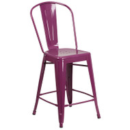 "Flash Furniture Purple Metal Indoor-Outdoor Counter Height Chair 24""H - ET-3534-24-PUR-GG"
