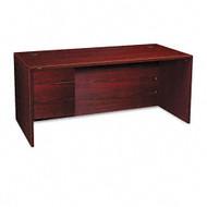 "HON 10500 Series Single 3/4 Pedestal Desk Left 66"", Assembled - 10584LNN"