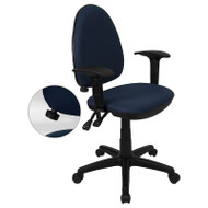 Flash Furniture Mid Back Navy Blue Fabric Multi-Functional Task Chair with Arms and Adjustable Lumbar Support - WL-A654MG-NVY-A-GG