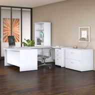 "Bush Business Furniture Studio C Bow Front U-Shaped Desk with Storage Package 60"" White - STC002WH"