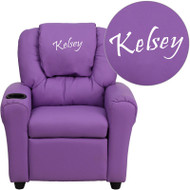Flash Furniture Kid's Recliner with Cup Holder Lavender Vinyl Dreamweaver Embroiderable - DG-ULT-KID-LAV-EMB-GG