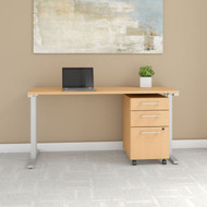 """Bush Business Furniture 400 Series Table Desk 60"""" x 24"""" with 3 Drawer Mobile Pedestal, Natural Maple - 400S216AC"""