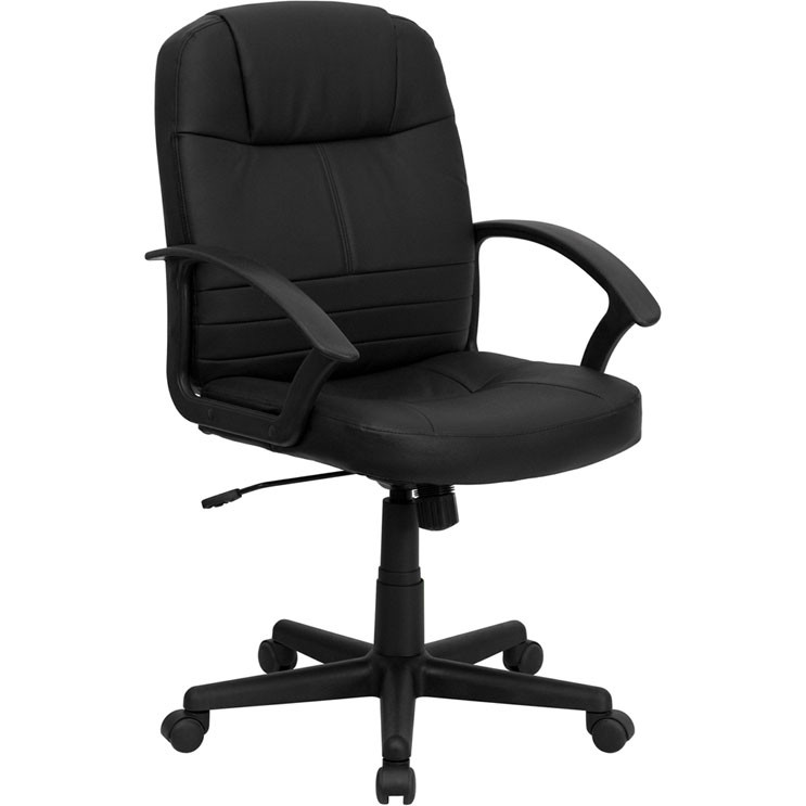 Surprising Flash Furniture Mid Back Black Leather Executive Swivel Office Chair Bt 8075 Bk Gg Pdpeps Interior Chair Design Pdpepsorg