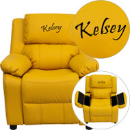 Flash Furniture Kid's Recliner with Storage Dreamweaver Embroiderable Yellow Vinyl - BT-7985-KID-YEL-EMB-GG