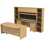 Bush Business Furniture Series C Package Executive Bowfront Desk with Credenza, Hutch and Bookcases Light Oak - SRC0010LOSU