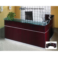 Mayline Napoli Veneer Reception Desk with Return and 1 Box/Box/ File and 1 File/File Pedestal Drawer Mahogany - NRSLBF