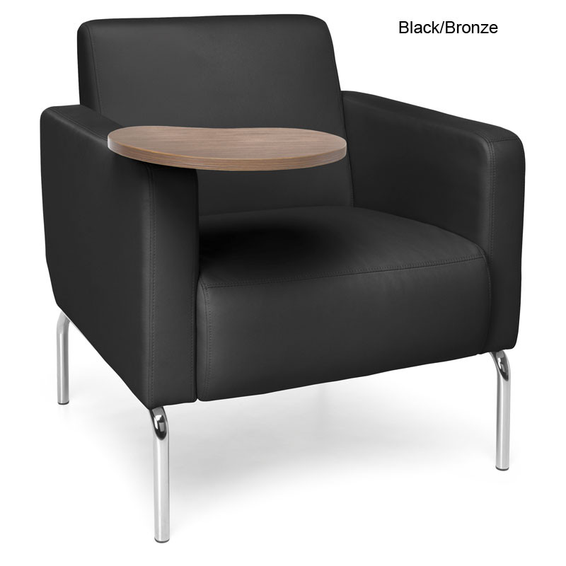 Awesome Ofm Triumph Series Lounge Chair With Tablet Vinyl Seat 3002T Inzonedesignstudio Interior Chair Design Inzonedesignstudiocom