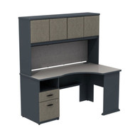 "Bush Business Furniture Series A Corner Desk with Hutch and 2-Drawer Pedestal in Slate and White Spectrum 60""W - SRA007SL"