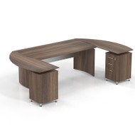 "Mayline Medina Laminate Executive 63"" Desk U-Shaped with 2  Returns and Center Drawer Textured Brown Sugar - MNT3TBS"