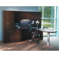 Mayline Aberdeen Executive L-Shaped Peninsula Desk Package Mocha - AT22