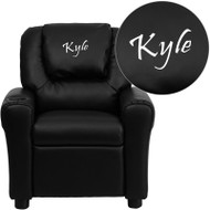 Flash Furniture Kid's Recliner with Cup Holder Black Vinyl Dreamweaver Embroiderable - DG-ULT-KID-BK-EMB-GG