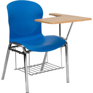 Flash Furniture Hercules Series Blue Shell Chair with Left Handed Laminate Tablet Arm and Book Rack - JN-EVO-DESK-LFT-GG