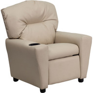 Flash Furniture Contemporary Kid's Recliner with Cup Holder Beige Vinyl - BT-7950-KID-BGE-GG