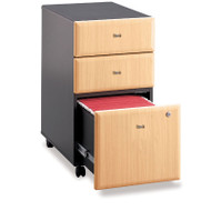 Bush Business Furniture Series A Mobile File Cabinet 3-Drawer Beech Assembled - WC14353PSU