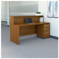 "Bush Business Furniture Series C Reception Desk with 3-Drawer Mobile Pedestal Warm Oak 72""W x 30""D - SRC096WOSU"