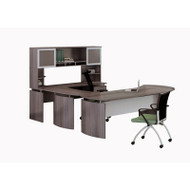 "Mayline Medina Laminate Executive 72"" Desk U-Shaped Package Right Gray Steel - MNT31-LGS"