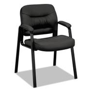 Basyx Black Leather Guest Leg Base Chair - VL643SB11
