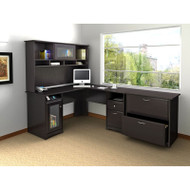 "Bush Cabot Collection L-Shaped Desk 60"" Package Espresso Oak - CAB005EPO"
