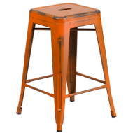 "Flash Furniture Distressed Orange Metal Indoor-Outdoor Counter Height Stool 24""H - ET-BT3503-24-OR-GG"