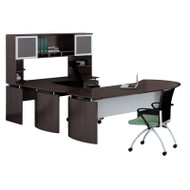 "Mayline Medina Laminate Executive Desk U-Shaped Right 63"" Mocha- MNT29-LDC"