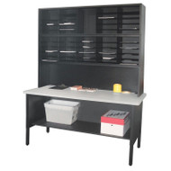 "Marvel 50 Adjustable Slot Literature Organizer with Riser Black 60""W x 30""D x 76-84""H - UTIL0018"