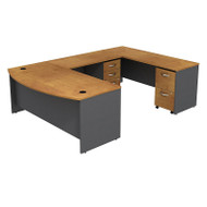 "Bush Business Furniture Series C Package Bowfront U-Shaped Desk with Mobile File Cabinets in Natural Cherry 72""W x 36""D - SRC043NCSU"