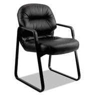 Hon Pillow-Soft Sled Base Leather Guest Chair, Black - 2093SR11T