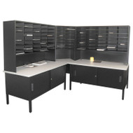 "Marvel 84 Slot Corner Literature Organizer with Cabinet Black 90""W x 90""D x 70-78""H - UTIL0014"