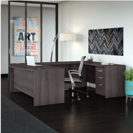 "Bush Business Furniture Studio C Bow Front U-Shaped Desk Package 72"" Storm Gray - STC004SG"