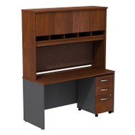 "Bush Business Furniture Series C Executive Desk 60"" with Hutch and Mobile File Cabinet in Hansen Cherry - SRC014HCSU"