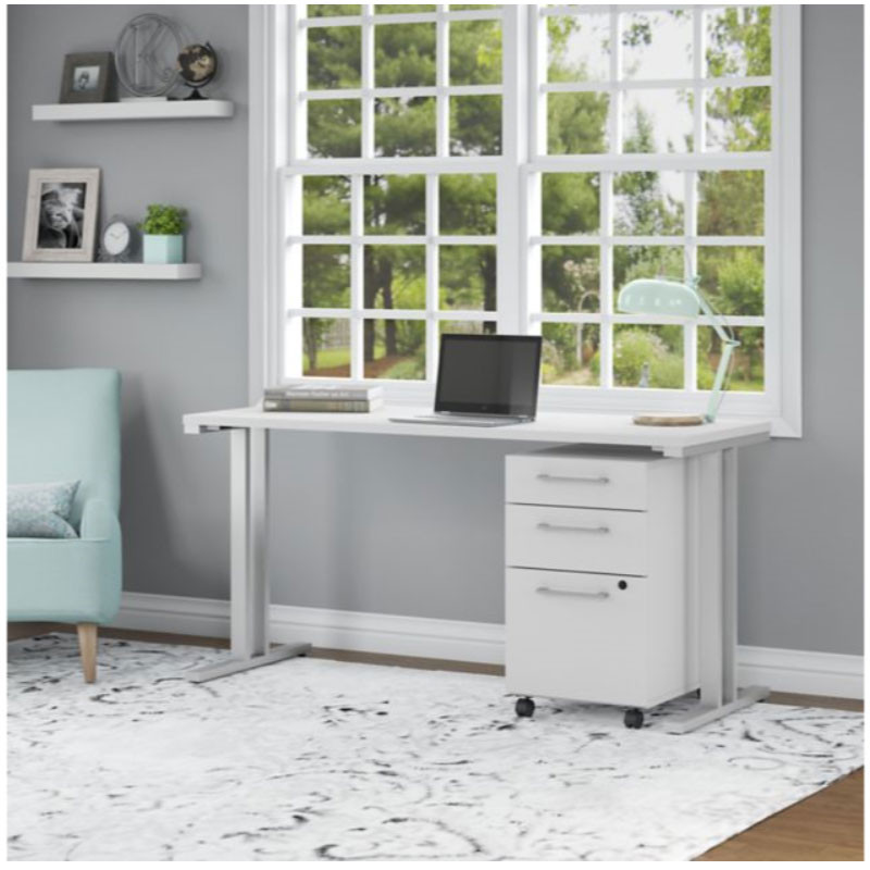 Bush Business Furniture 400 Series Table Desk 60 X 24 With 3 Drawer Mobile Pedestal White 400s216wh