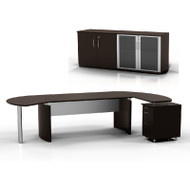 "Mayline Medina Executive 63"" Desk with Return on Right and Low Wall Cabinet, Mocha  - MNT7-LDC"