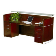 Mayline Napoli Veneer Reception Desk with Pedestals and Center Drawer Sierra Cherry - NRSBB-CRY