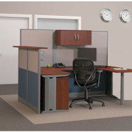 Bush Furniture Office-in-an-Hour U-Shaped Desk Workstation with Reception Counter Package - WC36496-03STGK-R