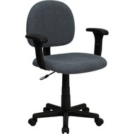 Flash Furniture Mid Back Ergonomic Gray Fabric Task Chair with Adjustable Arms - BT-660-1-GY-GG