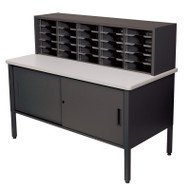 "Marvel 25 Adjustable Slot Literature Organizer with Cabinet Black 60""W x 30""D x 44-52""H - UTIL0028"