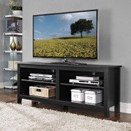 "Walker Edison Essential 58"" Wood TV Console, Black - W58CSPBL"