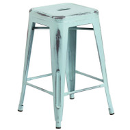 "Flash Furniture Distressed Green-Blue Metal Indoor-Outdoor Counter Height Stool 24""H - ET-BT3503-24-DB-GG"