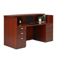 Mayline Mira Reception Desk Station with Two Pedestals 72W x 36D x 43.5H Medium Cherry - MRSBB-MC
