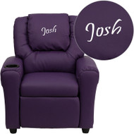 Flash Furniture Kid's Recliner with Cup Holder Purple Vinyl Dreamweaver Embroiderable - DG-ULT-KID-PUR-EMB-GG